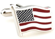 Silver USA Flag cufflinks with wavy pattern close up image
