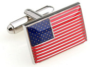 American Flag Cufflinks; USA Flag cuff-links close up image