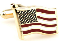 Gold USA Flag cufflinks wavy design close up image