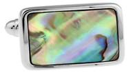 rectangle abalone cufflinks close up image