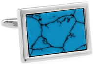 blue turquoise rectangle cufflinks close up image