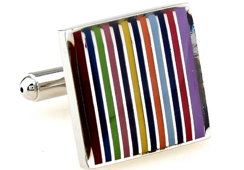square rainbow striped cufflinks close up image
