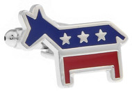 red, blue & silver patriotic party symbol democrat donkey cufflinks close up image