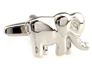 silver elephant cufflinks trunk down style close up image