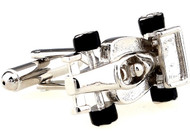 Silver Formula 1 Indy Car Cufflinks close up image