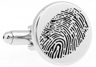 Silver finger print cufflinks close up image