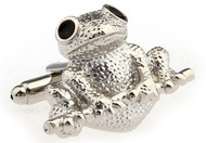 Silver Frog Cufflinks close up image