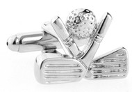 golf ball with crossed golf clubs cufflinks close up image