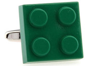Green Lego brick Cuff-links close up image
