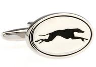 oval Greyhound cufflinks close up image