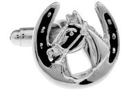 silver horse head horseshoe cufflinks close up image