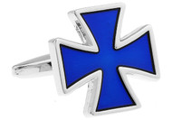 Blue Iron Cross cufflinks single close up image