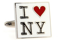 I Love NY cufflinks close up image