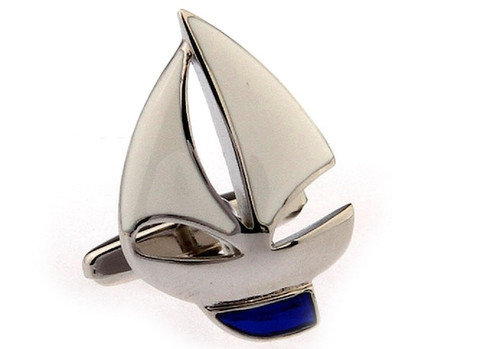Silver Sailboat cufflinks shown as a pair close up image