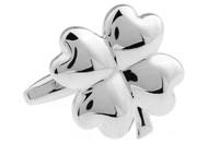 Silver 4 Leaf Clover cufflinks; lucky shamrock cufflinks close up image