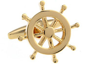 gold ship wheel cufflinks close up image