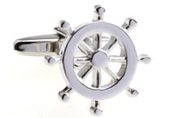 silver ship wheel cufflinks close up image