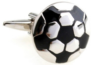 silver & black soccer ball cufflinks flat face design left side view close up image