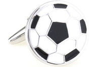 black & white soccer ball cufflinks flat design close up image