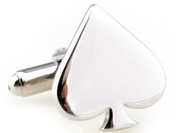 silver spade cufflinks close up image