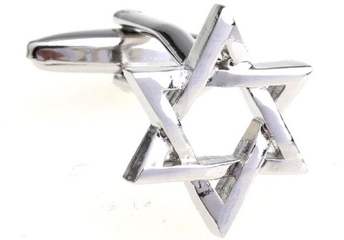 Silver Star Of David Cufflinks close up image