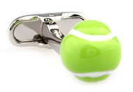 neon yellow tennis ball cuff links close up image
