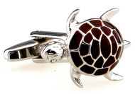 brown turtle cufflinks close up image