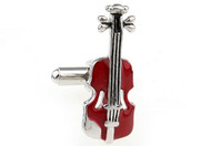 Red Classic Violin Cufflinks close up image