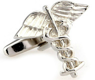 Medical Symbol Cufflinks Caduceus Symbol Cufflinks shown in silver-tone single image close-up view