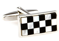 Abalone Checkerboard Cufflinks single cufflink close up view