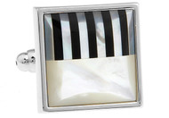 square abalone piano keys cufflinks close up image