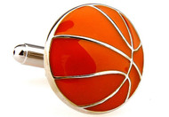 silver and orange basket ball cufflinks close up image