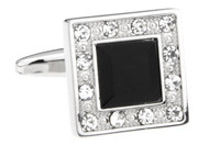 square black crystal cufflinks close up image