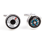 Working Thermostat & Compass Cufflinks shown as pair close up image