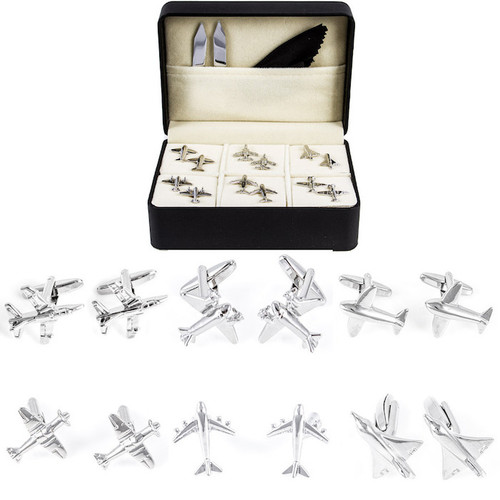6 Pairs Assorted Jet Airplanes Cufflinks Gift Set with presentation Gift Box shown in pairs