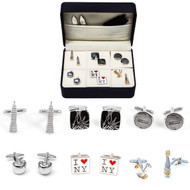 6 pairs New York City Cufflinks Gift Sets with presentation gift box cufflinks included in gift set: 1 pair Empire State Building cufflinks 1 pair black Statue of Liberty cufflinks 1 pair New York City Man hole cover cufflinks 1 pair big apple cufflinks 1 pair I love NY cufflinks 1 pair champagne bottle &  champagne flutes cufflinks 1 pair collar tabs 1 black polishing cloth