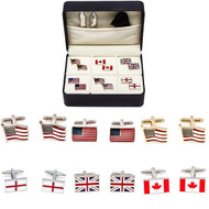 6 pairs assorted patriotic flag cufflinks for England, Britain, Canada and USA; British flag cufflinks; English flag cufflinks; Canadian flag cufflinks and American flag cufflinks on display individually with collar tabs, polishing cloth and presentation gift box