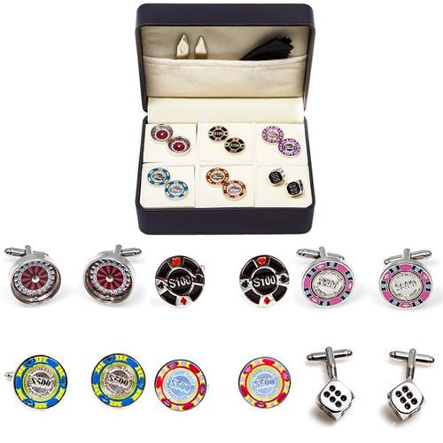 6 pairs Casino Games Cufflinks; Poker Chips cufflinks, Roulette Wheel Cufflinks and dice cufflinks gift set.