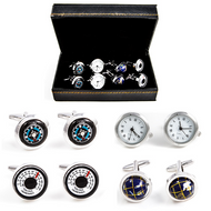 4 Pairs Assorted Traveler's Cufflinks Gift Set shown close up with all styles on display in the front