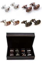 4 pairs Cuban cigar cufflinks gift set with all 4 pairs displayed in front of the presentation box