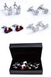 4 pairs assorted golfer theme cufflinks gift set includes putter club cuff links; golf cart cufflinks; golf ball cufflinks and golf bag cufflinks; displayed as pairs in front of the presentation gift box close up image