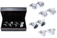 4 pairs of assorted medical doctor cufflinks shown as pairs on display beside the presentation gift box