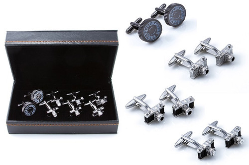 4 pairs of photography camera cufflinks gift set shown on display as pairs beside the presentation gift box