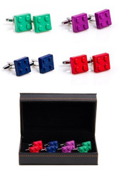 4 pairs assorted Lego Building Blocks Cufflinks gift sets featuring red, green, blue and purple colors.