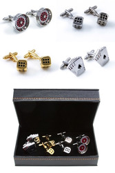 4 pairs assorted Casino dice, poker card, roulette wheel cufflinks gift sets with presentation gift box