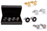 4 Pairs Assorted Gold & Silver Fleur De Lys Cufflinks Gift Set with Presentation Gift Box