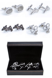 4 pairs assorted police detective cufflinks gift set displayed along side the presentation gift box