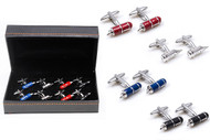4 Pairs Assorted Colors Fountain Pens Cufflinks Gift Sets with Presentation Gift Box