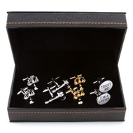 4 pairs assorted criminal justice theme cufflinks gift sets; Assorted Lawyer Cufflinks gift sets with presentation gift box