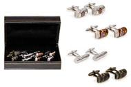4 pairs assorted cuban cigar cufflinks gift set shown with cigar cufflink pairs beside the presentation gift box